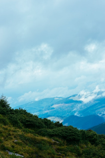 Mountain forest landscape with cloudy sky Free Photo