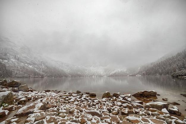 Mountain lake in winter. morske oko. poland Premium Photo