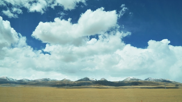 Mountain and land with old town look and clear scenery Premium Photo