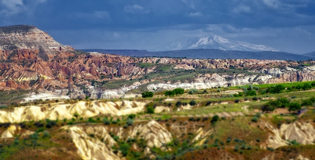 Mountain landscape. cappadocia, anatolia, turkey. volcanic mountains in goreme national park. Premium Photo