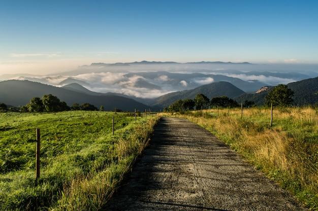 Mountain road with fog view Premium Photo