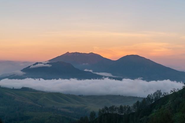 Mountainous landscape at dusk Free Photo