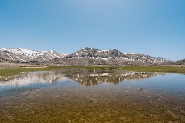 湖の水に山の反射 無料写真