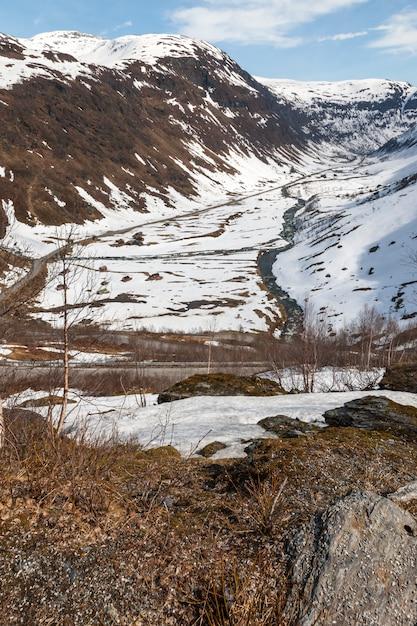 Горы, заснеженный фьорд Бесплатные Фотографии