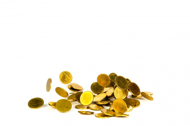 Movement of falling gold coin, flying coin Premium Photo
