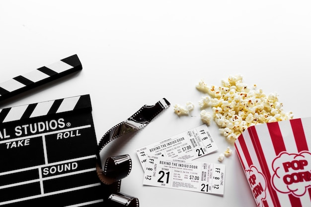 Movie objects on whita background Free Photo