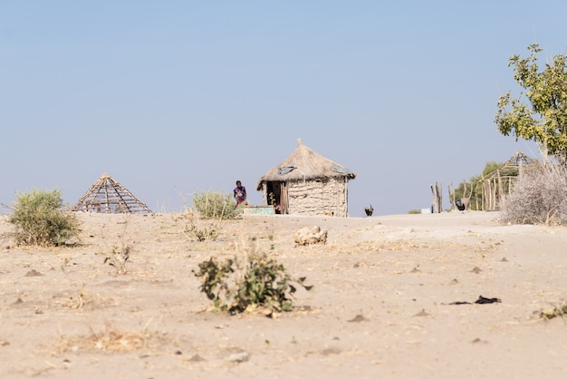 Mud straw and wooden hut with thatched roof in the bush Premium Photo