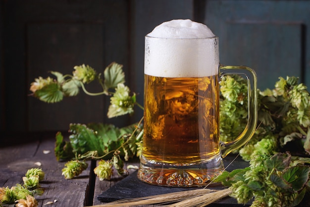 Mug of lager beer Premium Photo