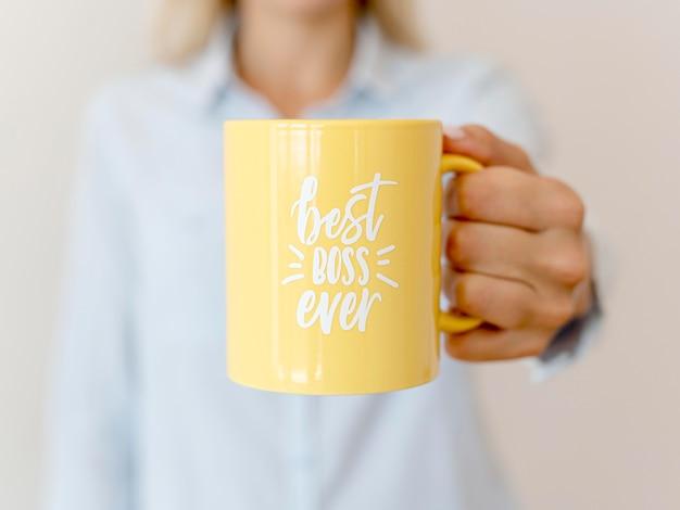 Mug with best boss message Free Photo