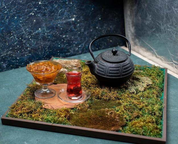 Mulberry jam and tea Free Photo