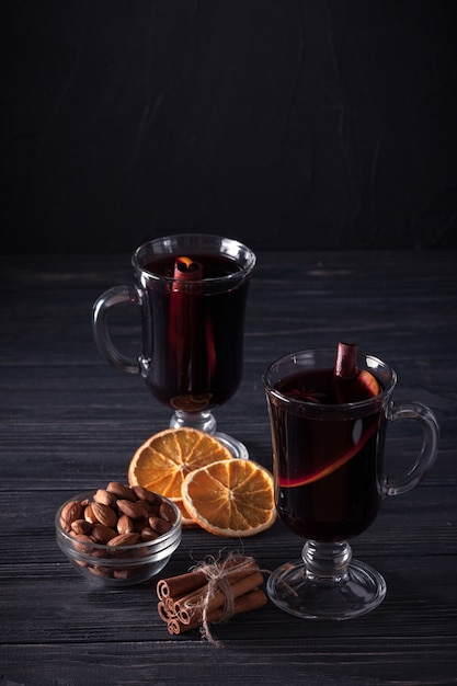 Mulled Wine Banner Glasses With Hot Red Wine And Spices On Dark Background Modern Dark Mood Style Premium Photo