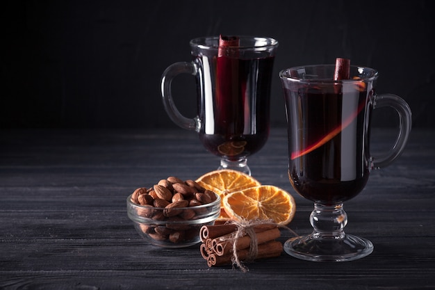 Mulled Wine Banner Glasses With Hot Red Wine And Spices On Dark Background Premium Photo