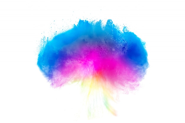 Multi color powder explosion  on white background. Premium Photo