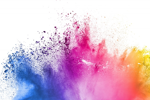 Multi color powder explosion  on white background. Premium Photo