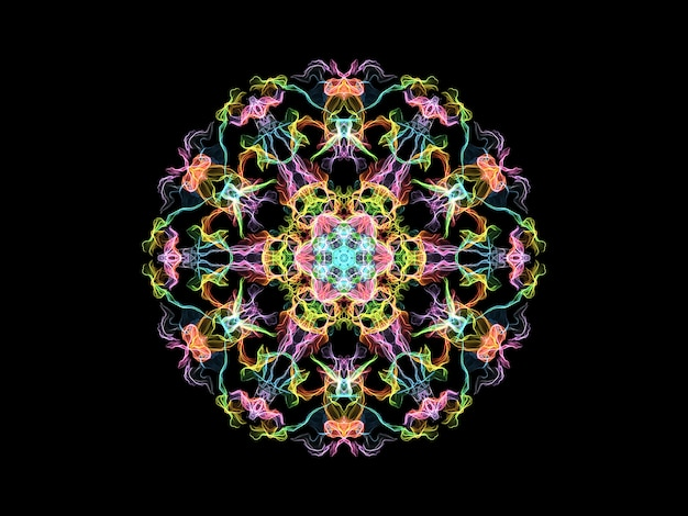 Multi colored flame mandala flower, ornamental round pattern on black background. Premium Photo