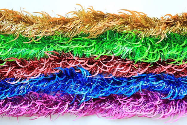 Multi Colors Bunch Fur Or Christmas Tree Tinsel Garland On White