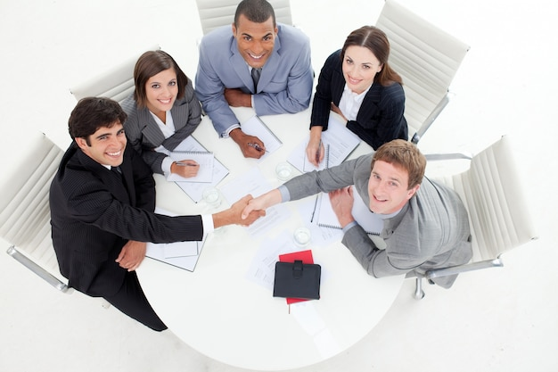 Multi ethnic business people greeting each other photo premium multi ethnic business people greeting each other premium photo m4hsunfo