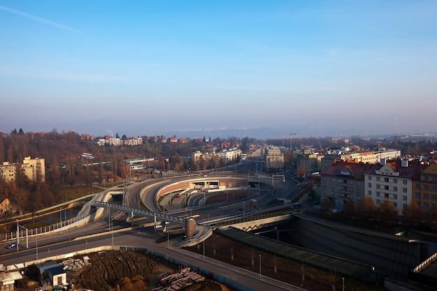 Multi-level road  interchange Free Photo