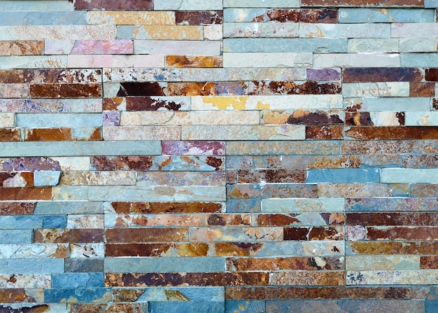 Multicolor old and grunge brick wall. vintage background Free Photo