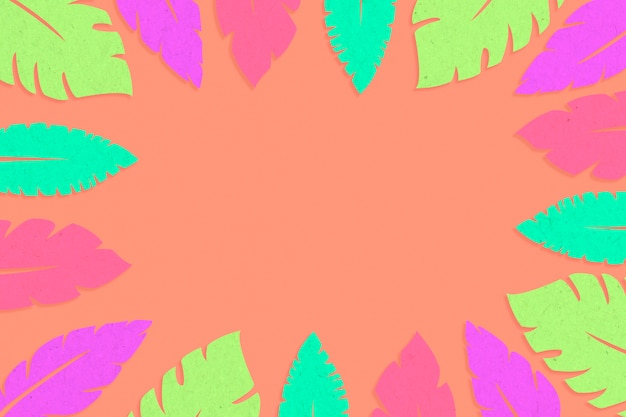 Multicolor tropical leaves frame Free Photo