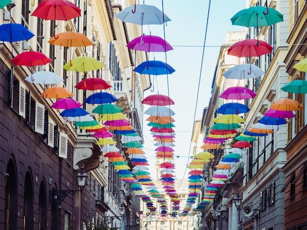 Multicolored, bright umbrellas Premium Photo