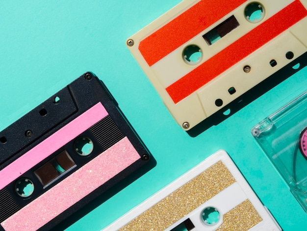 Multicolored cassette tapes collection Free Photo