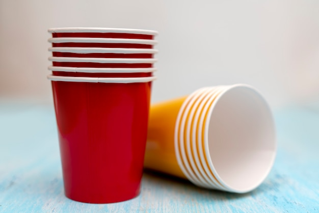 Multicolored disposable paper cups for drinks  Photo