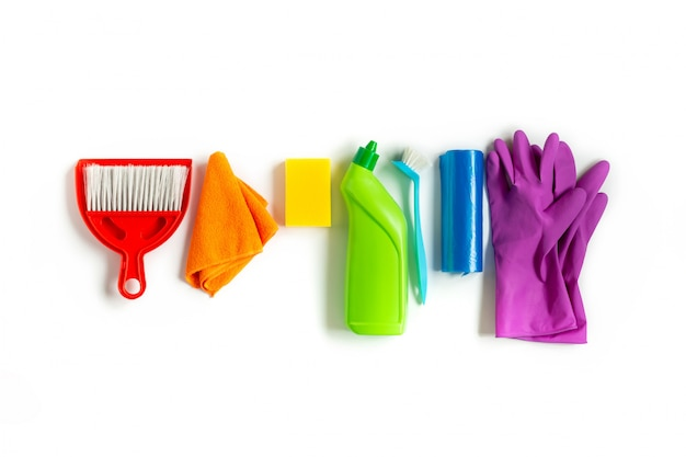 Multicolored kit for bright spring cleaning in the house. Premium Photo