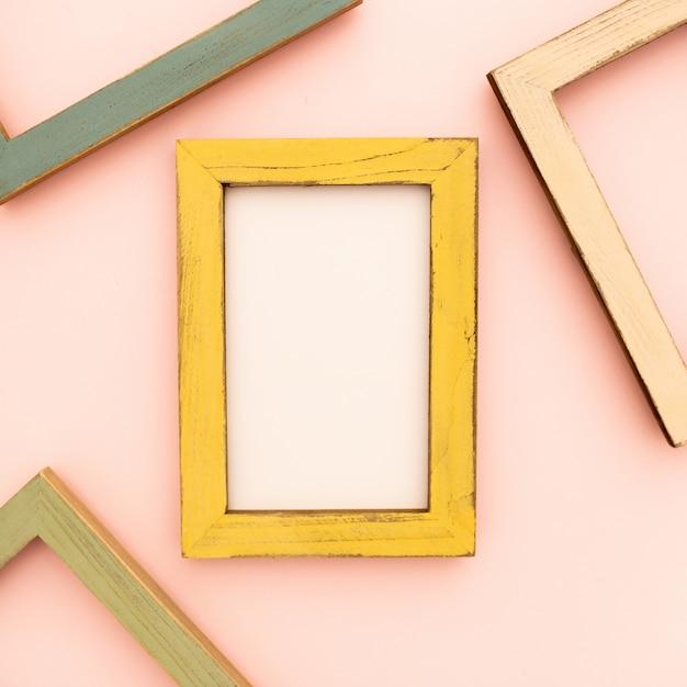 Multicolored photo frames on the retro wall Free Photo