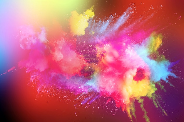 Multicolored powder explosion on black background. Premium Photo