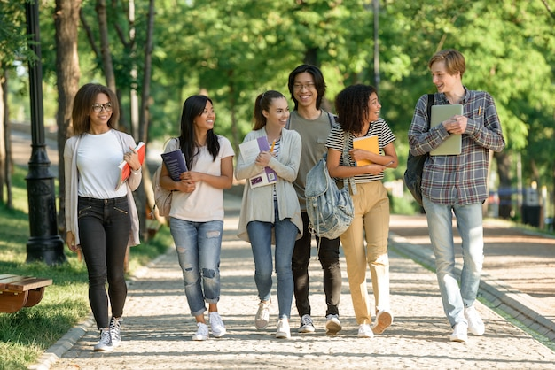 Multiethnic group of young cheerful students walking Free Photo