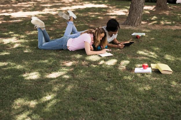 Multiethnic teenage students doing homework Free Photo