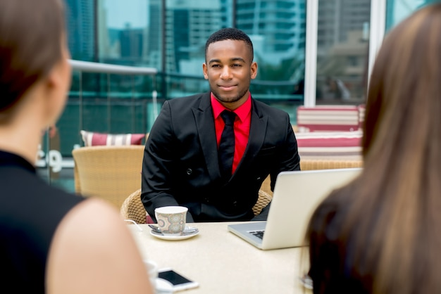 Multiracial job interview afro american talking conversation businessman. Premium Photo