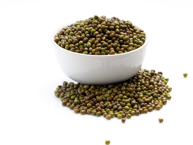 The mung beans in bowl Premium Photo