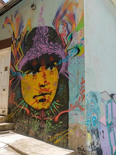 Mural Of A Face On Exterior Wall Valparaiso Chile Photo Premium