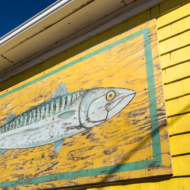Фреска из рыбы в рыбацкой сарае в гавани, северный рустико, остров принца эдуарда, канада Premium Фотографии
