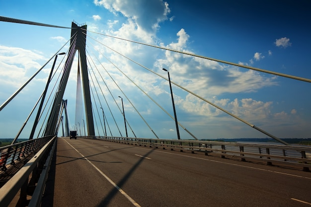 Murom cable bridge through oka Free Photo
