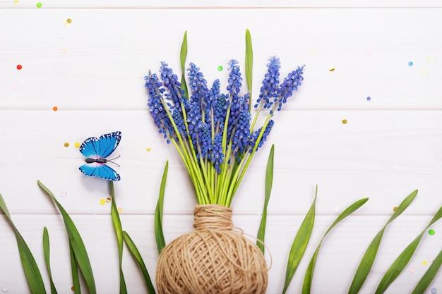 Muscari  flowers on wood Premium Photo
