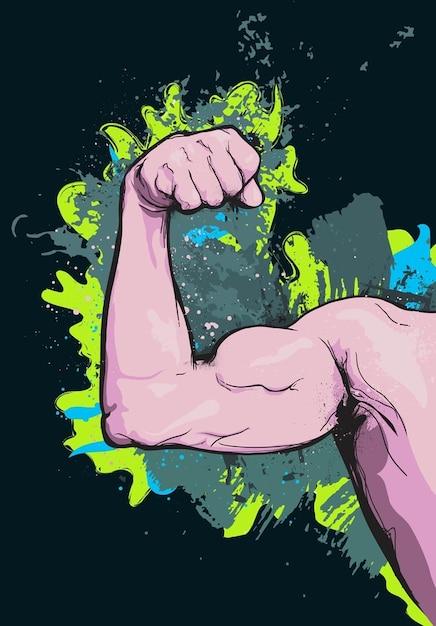 Muscle arm cartoon vector