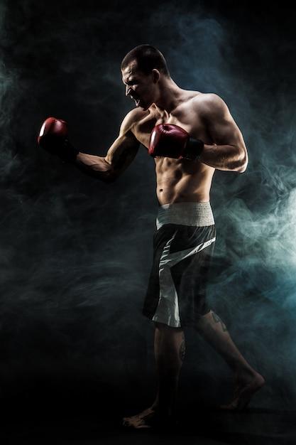 Muscular kickbox or muay thai fighter punching in smoke Premium Photo