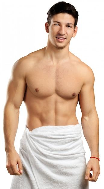 Muscular man isolated on white Premium Photo