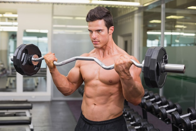 Muscular man lifting barbell in gym Premium Photo