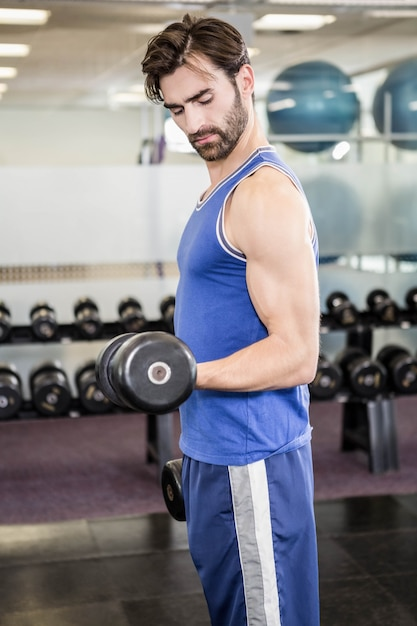 Muscular man lifting dumbbell at the gym Premium Photo