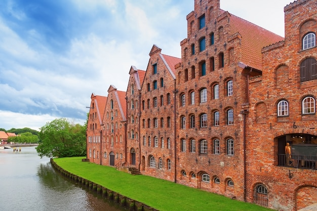 Museum holstentor of city lubeck, northern germany. traditional brick gothic architecture. Premium Photo