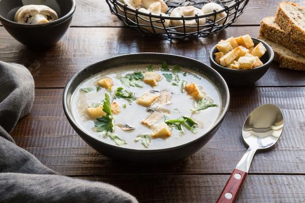 Mushroom champignon cream soup, Premium Photo