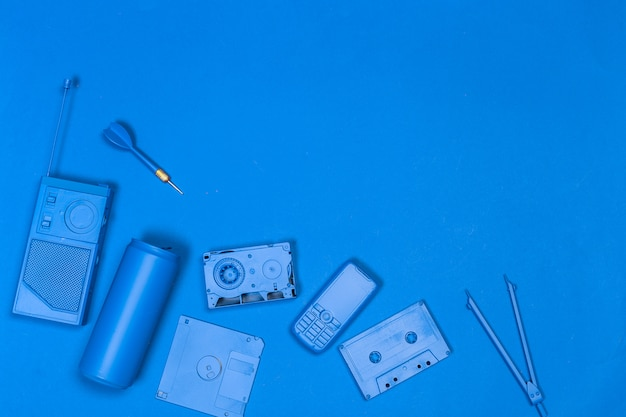 Music flat lay objects Premium Photo