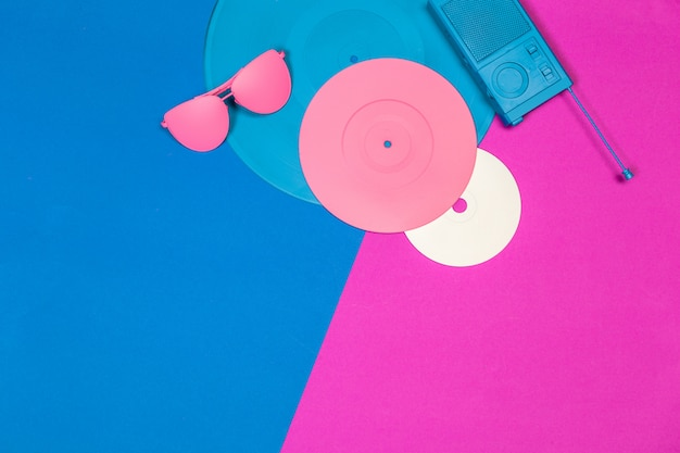 Music flat lay objects Premium Photo