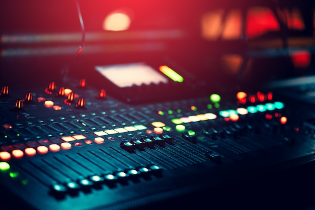 Music mixer background with lots of light spots bokeh Premium Photo