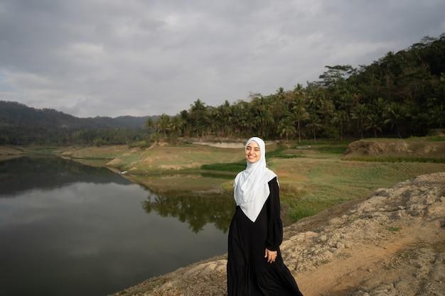 Muslim arabic woman at beautiful outdoor Premium Photo