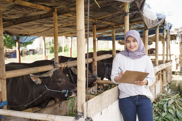 Мусульманская азиатская женщина-фермер, стоящая на ферме с коровой Premium Фотографии